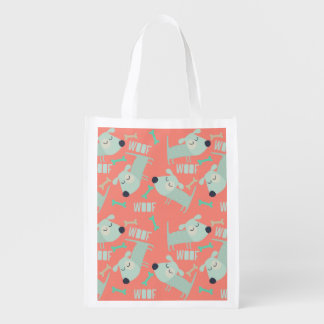 Woof Dogs and Bones Grocery Bag