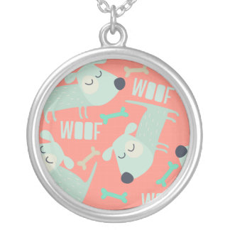 Woof Dogs and Bones Round Pendant Necklace