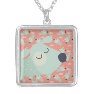 Woof Dogs and Bones Square Pendant Necklace