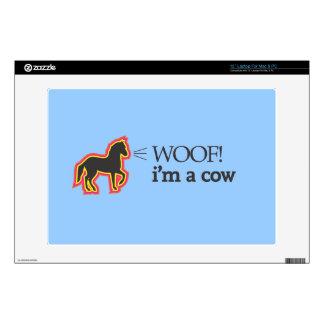 Woof i m a cow laptop skins