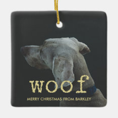 Woof In Vintage Gold Typewriter Text For Dog Photo Ceramic Ornament at Zazzle