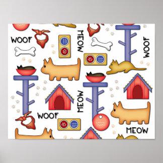 "Woof & Meow 14"" x 11"", Poster Paper (Matte)"