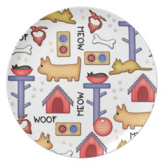 Woof & Meow Melamine Plate