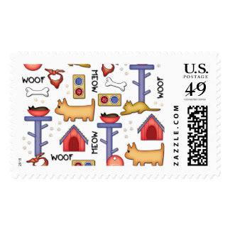 Woof & Meow Stamp, $0.49 (1st Class 1oz) Postage