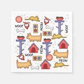 Woof & Meow White Paper Napkins
