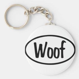 Woof Oval Basic Round Button Keychain