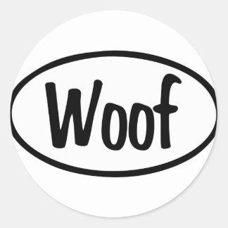 Woof Oval Classic Round Sticker