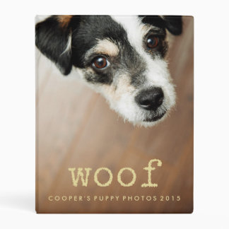 Woof Vintage Gold Text Add Your Dog's Photo Mini Binder
