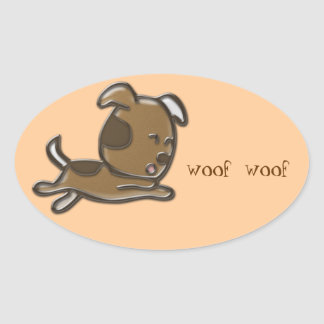 woof woof oval sticker