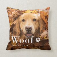 Woof | Your Dog's Photo and a Paw Print Throw Pillow