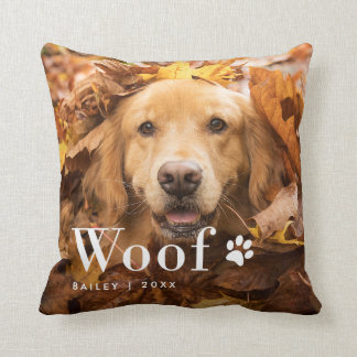 Woof   Your Dog's Photo and a Paw Print Throw Pillow