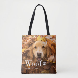 Woof | Your Dog's Photos and a Paw Print Tote Bag