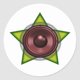 Woofer Rasta star Dub Reggae Dubstep Round Stickers