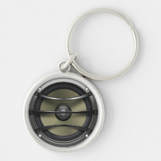 Woofer Silver-Colored Round Keychain