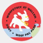 Woofstock en Waller Pegatina Redonda