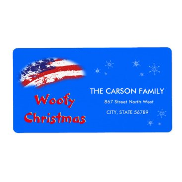 USA Themed Woofy Christmas USA Red White Blue Flag Label