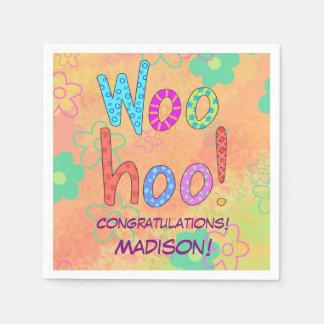 Woohoo enhorabuena personalizada nombre del arte servilletas de papel