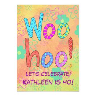 WooHoo invitación del cumpleaños del naranja del