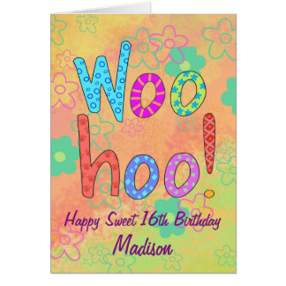 WooHoo Name Personalize Happy Sweet 16 Birthday Card