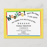 """Woohoo Sounds Like Fun Reunion Party Save the Date Announcement Postcard<br><div class=""""desc"""">Bold and bright. Loud and fun. What more could you ask for in a family reunion,  class reunion,  graduation,  milestone big birthday party,  or retirement party save the date postcard? Easy to reword to match your event. See more at Zigglets here at Zazzle.  There&#39;s a direct store link below.</div>"""