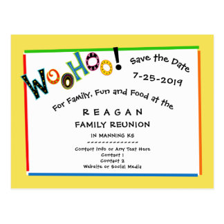 Woohoo Sounds Like Fun Reunion Party Save the Date Postcard
