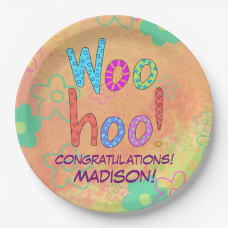 Woohoo Word Art Name Personalized Congratulations Paper Plate