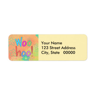 WooHoo Word Text Art Graphic Yellow Orange Label