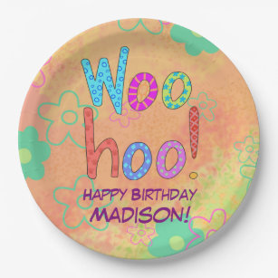Woohoo Word Text Art Name Personalized Birthday Paper Plate  sc 1 st  Zazzle & Happy Birthday In Purple Plates | Zazzle