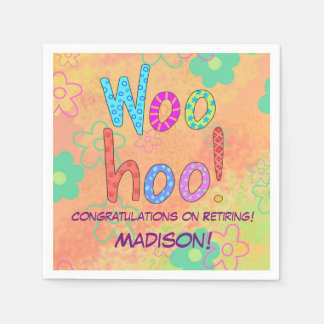 Woohoo Word Text Art Name Personalized Retirement Napkin