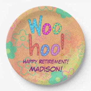 Woohoo Word Text Art Name Personalized Retirement Paper Plate  sc 1 st  Zazzle & Happy Retirement Plates   Zazzle