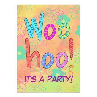 WooHoo Word Text Art Orange Party Invitation