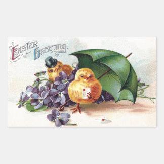 Wooing Chicks and Violets Vintage Easter Sticker