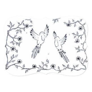 Wooing Love Birds Engagement / Wedding Invitations