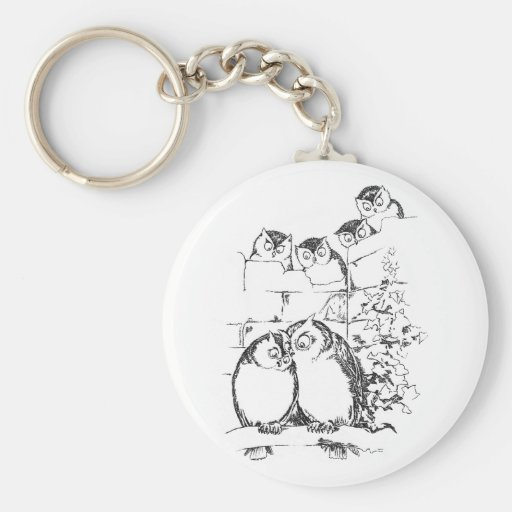 Wooing Owl Has an Audience Basic Round Button Keychain