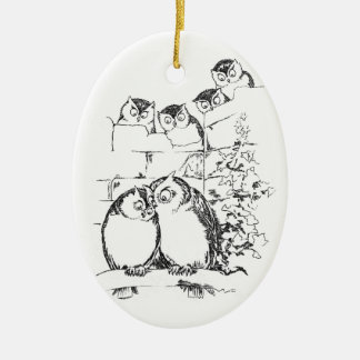Wooing Owl Has an Audience Double-Sided Oval Ceramic Christmas Ornament
