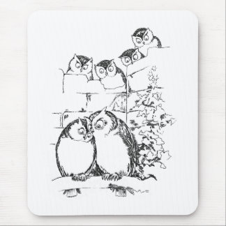 Wooing Owl Has an Audience Mouse Pad