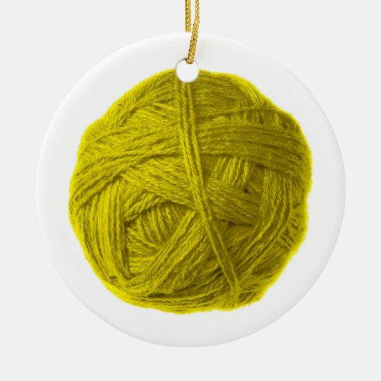 wool ball ceramic ornament