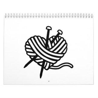 Wool heart knitting needles calendar