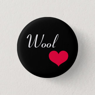 Wool heart pinback button
