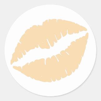 Wool Lipstick Print Classic Round Sticker