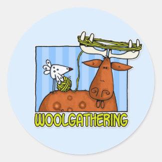 woolgathering classic round sticker