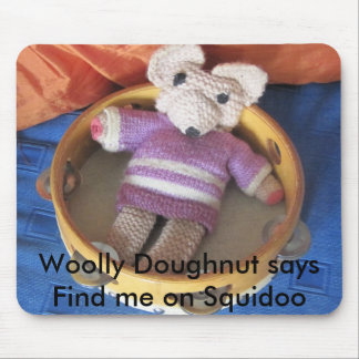 Woolly 3 003, Woolly Doughnut says Find me on S... Mouse Pad