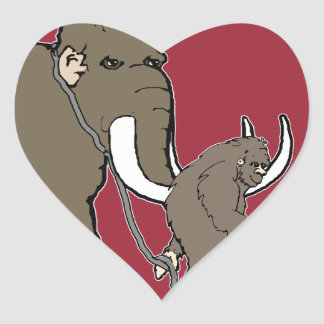 Woolly Mammoth And Bigfoot Heart Sticker