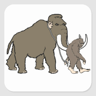 Woolly Mammoth And Bigfoot Square Sticker