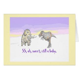 Woolly Mammoth and Dinosaur birthday card