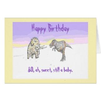 Woolly Mammoth and Dinosaur birthday card 80