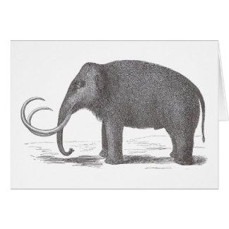 Woolly Mammoth Extinct Mastodon Antique Print Greeting Card