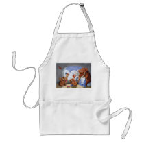 artsprojekt, mammoth, baby mammoth, baby mammoths, prehistoric animal, cave man, ice age, snow fight, snow, winter, cave men, woolly mammoth, children illustration, for kids, Apron with custom graphic design