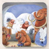 artsprojekt, mammoth, baby mammoth, baby mammoths, prehistoric animal, cave man, ice age, snow fight, snow, winter, cave men, woolly mammoth, children illustration, for kids, [[missing key: type_fuji_coaste]] com design gráfico personalizado