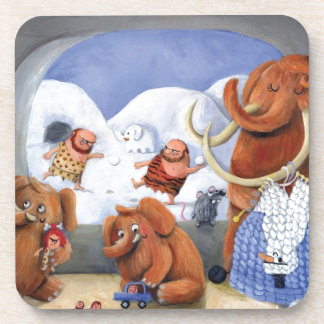 Woolly Mammoth Family in Ice Age Beverage Coaster